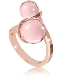 Rebecca - Boulevard Stone Rose Gold Over Bronze Contrarié Ring W/hydrothermal Pink Stones - Lyst