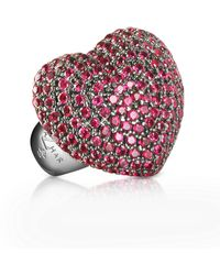 Azhar Sterling Silver And Cubic Zirconia Big Heart Ring - Red