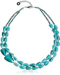 Antica Murrina - Marina 1 Double - Turquoise Green Murano Glass And Silver Leaf Necklace - Lyst
