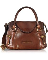 The Bridge Icons Gaucho Small Leather Satchel W/shoulder Strap - Brown