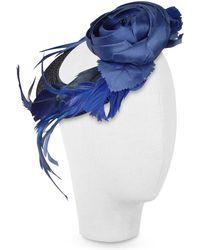 Nana' - Alba - Night Blue Flower Feather Hat Disc - Lyst