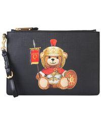 Moschino Roman Teddy Bear Pouch - Black