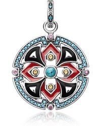 Thomas Sabo Black and Red Enamelled Sterling Silver Round Pendant w/Synthetic Turquoise and Red Corundum - Rot