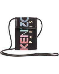KENZO Sport Animation Black Nylon Phone Holder on Strap - Negro