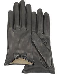 FORZIERI Leather Gloves with Bow - Schwarz