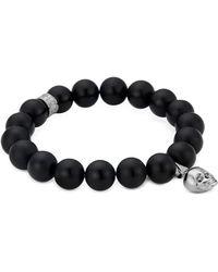 Northskull Matte Black Onyx/silver Skull Bracelet With Black Crystal