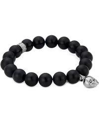 Northskull - Matte Black Onyx/silver Skull Bracelet With Black Crystal - Lyst