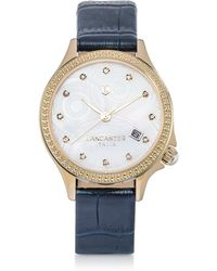 Lancaster Goccia Gold Tone Stainless Steel Watch - Blue