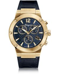 Ferragamo F-80 Gold Ip Stainless Steel Men's Chronograph Watch W/blue Croco Embossed And Black Rubber Strap