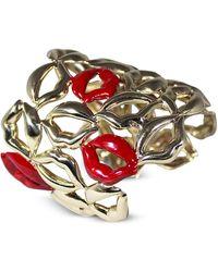 Bernard Delettrez Multi Lips Brass Cuff Bracelet w/ Five Enamelled Red Lips - Rojo