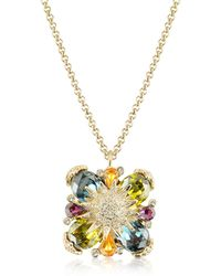 AZ Collection - Gold-plated Flower Drop Necklace - Lyst