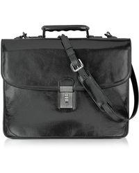 L.A.P.A. Klassische Aktentasche aus schwarzem Leder