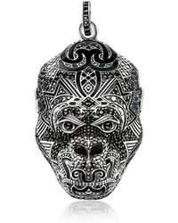 Thomas Sabo Blackened Sterling Silver Monkey God Pendant w/Black Zirconia and Onyx - Mettallic