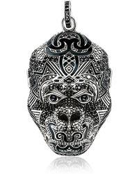 Thomas Sabo - Blackened Sterling Silver Monkey God Pendant W/black Zirconia And Onyx - Lyst