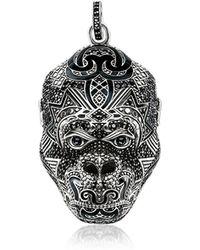 Thomas Sabo Blackened Sterling Silver Monkey God Pendant w/Black Zirconia and Onyx - Mettallic