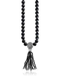Thomas Sabo Ethno Black Sterling Silver Men's Long Necklace w/Obsidian Matt & Polished Beads and Tassel - Negro