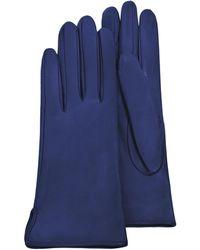 Forzieri   Women's Bright Blue Calf Leather Gloves W/ Silk Lining   Lyst