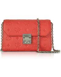 MCM - Millie Marigold Orange Monogrammed Leather Small Flap Crossbody Bag - Lyst