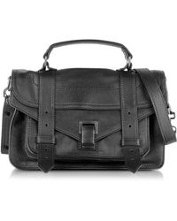 Proenza Schouler - Ps1 Tiny Black Lux Leather Satchel Bag - Lyst