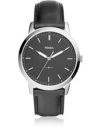 Fossil - The Minimalist Three-hand Black Leather Watch - Lyst