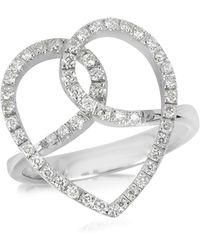 FORZIERI Diamond Crossing Heart 18k White Gold Ring - Metallic