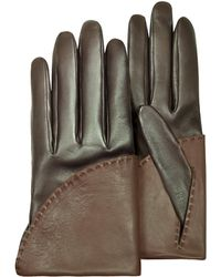 Pineider - Women's Two-tone Brown Short Nappa Gloves W/ Silk Lining - Lyst