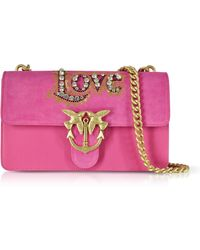 Pinko - Love Suede And Leather Shoulder Bag W/crystals - Lyst