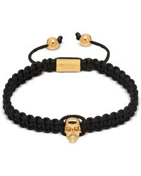 Northskull Atticus Skull Macramé Bracelet In Black And Yellow Gold
