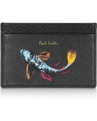 Paul Smith Koi Carp Embroidered Black Leather Card Holder - Schwarz