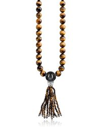 Thomas Sabo Power Blackened Sterling Silver Necklace w/Tiger Eye and Obsidian Polished Beads & Tassel - Amarillo