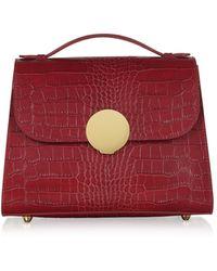 Le Parmentier Bombo Croco Embossed Leather Top-Handle Satchel Bag w/Stap - Rojo