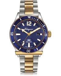 Ferragamo - Ferragamo 1898 Sport Gold Ip And Stainless Steel Men's Bracelet Watch W/blue Aluminum Rotating Bezel - Lyst