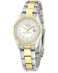 Maserati Competizione Silver Dial Two Tone Stainless Steel Women's Watch - Metallic