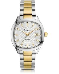 Ferragamo - Ferragamo Time Silver Stainless Steel And Gold Ip Men's Automatic Watch W/silver Guilloche' Dial - Lyst