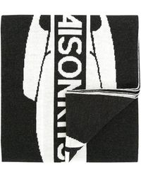 Maison Kitsuné - Black & White Supporter Wool Scarf - Lyst