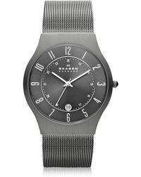 Skagen - Grenen Steel Mesh And Titanium Case Men's Watch - Lyst