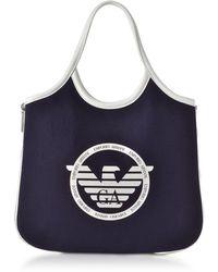Emporio Armani Hobo Borsa Shopper in Tessuto con Logo - Blu