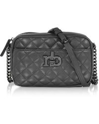 Roccobarocco Rb Releve Quilted Eco Leather Camera Bag - Black