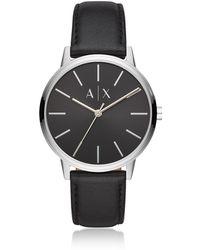 Emporio Armani - Cayde Minimalist Black Leather Men's Watch - Lyst
