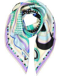 Emilio Pucci - Floral Print Twill Silk Square Scarf - Lyst