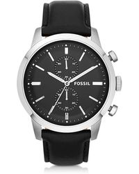 Fossil - Townsman Chronograph Black Leather Men's Watch - Lyst