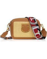 Furla Straw And Fabric Brava Mini Crossbody Bag - Brown