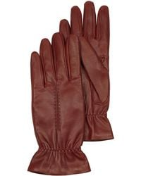 FORZIERI Burgundy Leather Women's Gloves w/Wool Lining - Rot
