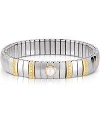 Nomination - Three Pearls Golden Stainless Steel Women's Bracelet W/cubic Zirconia - Lyst