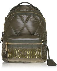 Moschino Green Quilted Nylon Signature Backpack - Verde