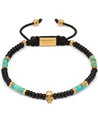 Northskull Atticus Skull Macramé Bracelet In Black Onyx W/ Turquoise And Yellow Gold - Multicolour