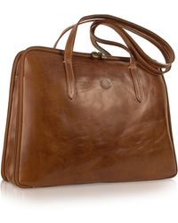 Chiarugi - Handmade Brown Genuine Italian Leather Business Bag - Lyst