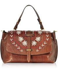 The Bridge Fiesole Embroidered Leather Satchel Bag - Brown