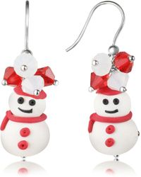Dolci Gioie - Snowman Pendant Earrings With Crystals - Lyst
