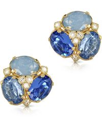 FORZIERI Blue Crystal Clip-on Earrings - Blau